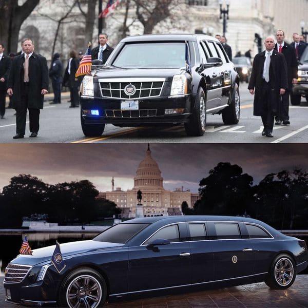"""La """"Bestia"""" continuará en servicio hasta que se presente la nueva limusina presidencial. Debajo, un adelanto de cómo se vería el nuevo modelo en las inmediaciones del Capitolio"""