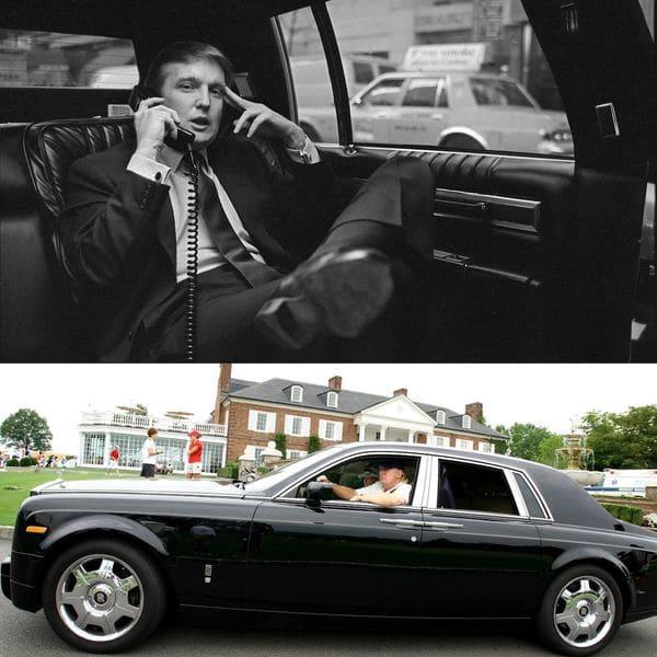 Ayer y hoy. Donald Trump recorre Nueva York en los ochentas a bordo de su limusina Cadillac personalizada con detalles en oro. El Rolls Royce Phantom, otro de los vehículos de su colección privada