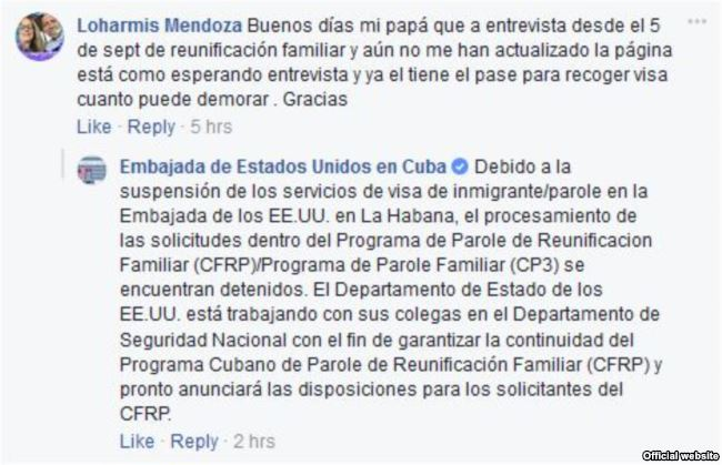 Respuesta de la Embajada de EEUU en Cuba sobre el programa Parole de Reunificación Familiar.